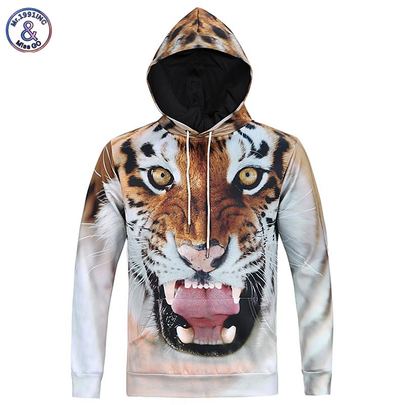 2017 Mr.1991INC New Fashion Men 3d Sweatshirts Print Tiger Animal Casual Hoodies With Cap Autumn Winter Hoody With Front Pockets