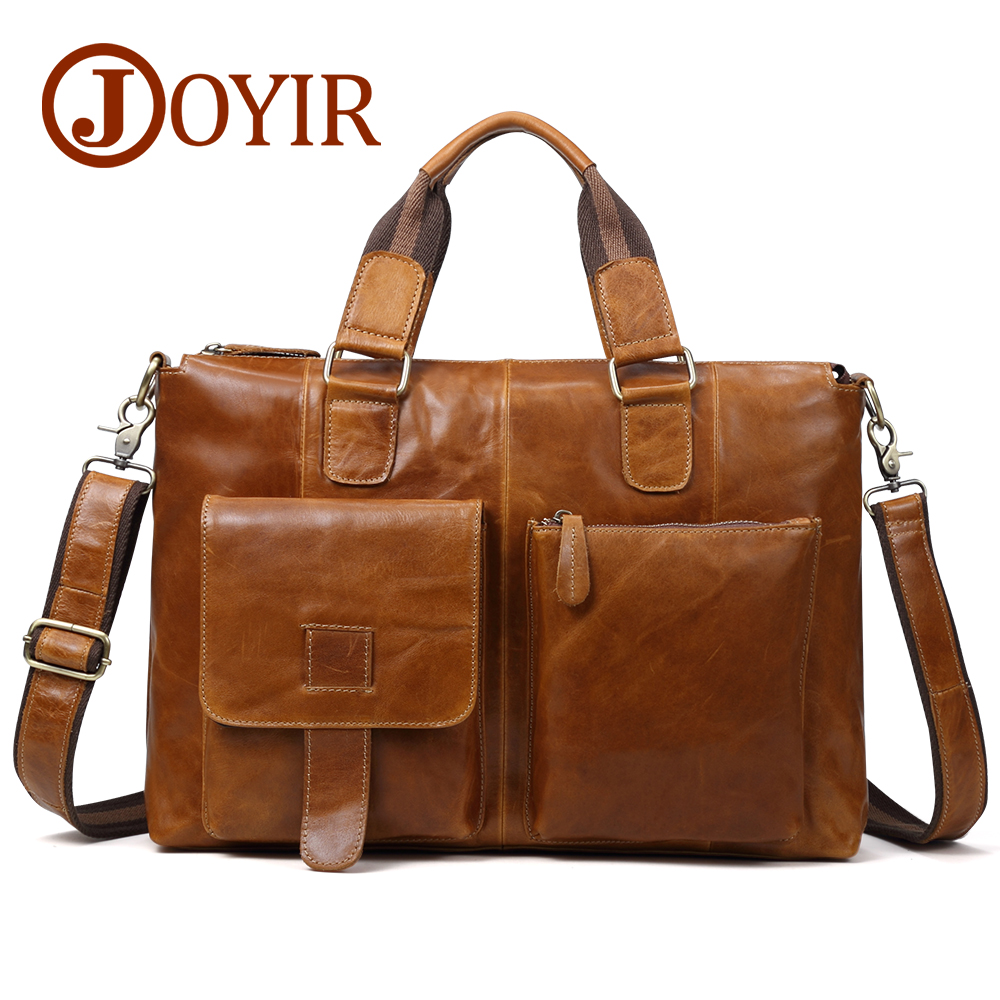JOYIR Genuine Leather Men Bag Messenger Bag Briefcase Men Laptop Bag Leather Office Shoulder Bags For Men Leather Handbag Male
