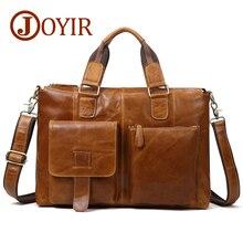 Joyir couro genuíno saco do mensageiro dos homens maleta de couro saco do portátil do escritório sacos de ombro para homens bolsa de couro masculino
