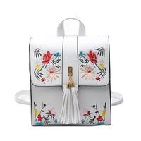 Alta qualidade Bordados de flores mulheres mochila de viagem feminino barato designer de couro PU pequeno eenager Menina mochila preta sacos menino