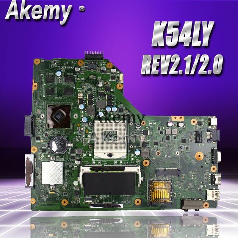 Akemy K54LY mère D'ordinateur Portable pour ASUS K54L K54LY X54H X54H K54HR X84H d'origine D'essai mai'nboard REV2.1/2.0 PM