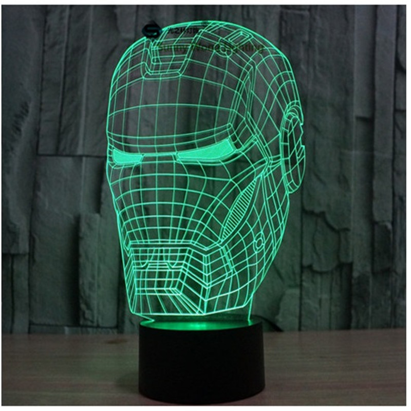 Iron Man Head switch LED 3D lamp ,Visual Illusion 7color changing 5V USB for laptop, desk decoration toy lamp