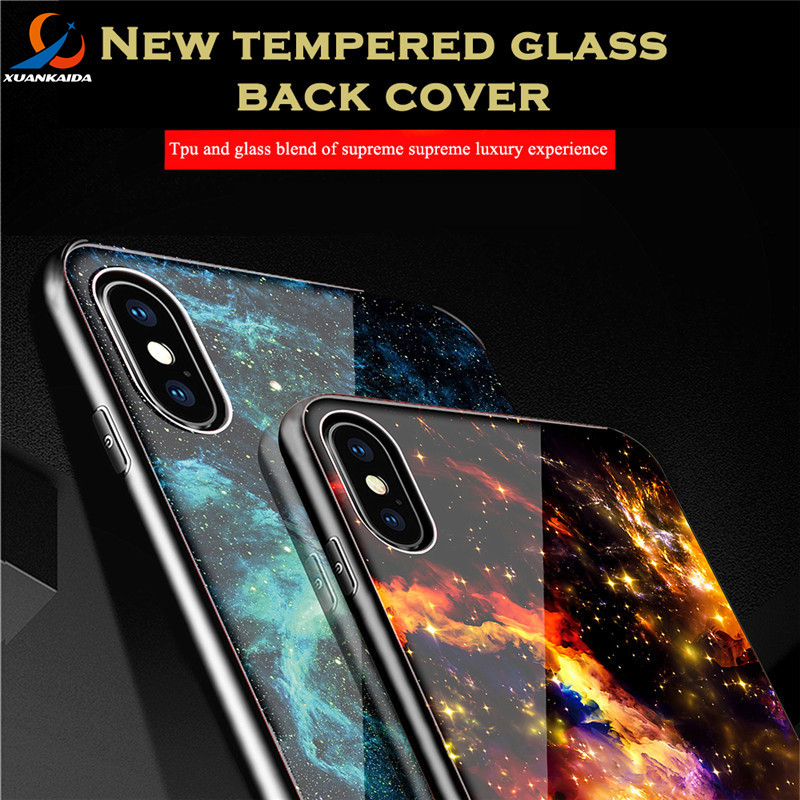 Milky Way Space Universe Starry Sky Tempered Glass Case For IPhone X 6 6S 7 8 Luxury PC TPU Cover For Samsung Galaxy S8 Plus