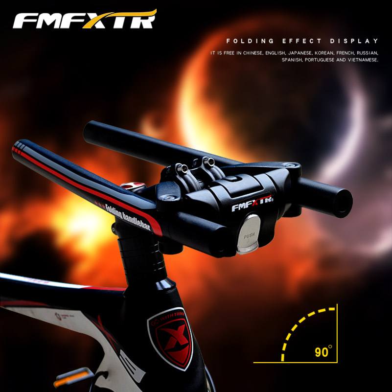 Купить с кэшбэком FMFXTR Quick Foldable Bicycle Cycling Handlebars Alloy Bike Parts MTB Road Folding Bike Handlebars 25.4mm 31.8mm