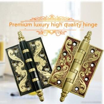 Pure copper crown head 4 inch hinge high-grade flat top quality loose-leaf european retro fashion gold black Translating hinges