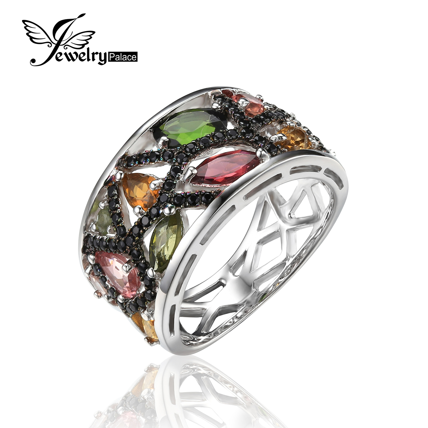 JewelryPalace Halloween 2 3ct Multicolor Genuine Tourmaline Black Spinel Cocktail font b Ring b font 925