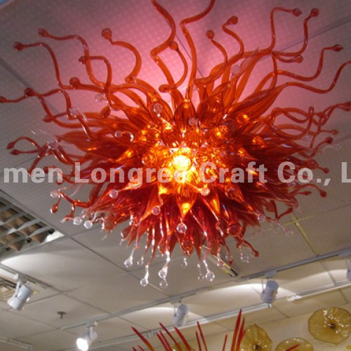 Modern Design LED Light Source High Quality Contemporary Chihuly Style Flower Hand Blown Glass Shade Murano Chandelier