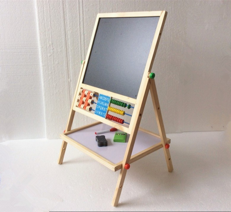 Free Shipping! Double Faced Educational Wooden Blackboard Multifuncational Baby Learning&Education Drawn Board Drawing Toys Gift