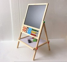 Купить с кэшбэком New Arrived Double Faced Educational Wooden Blackboard Multifuncational Children Drawin Board Free Shipping