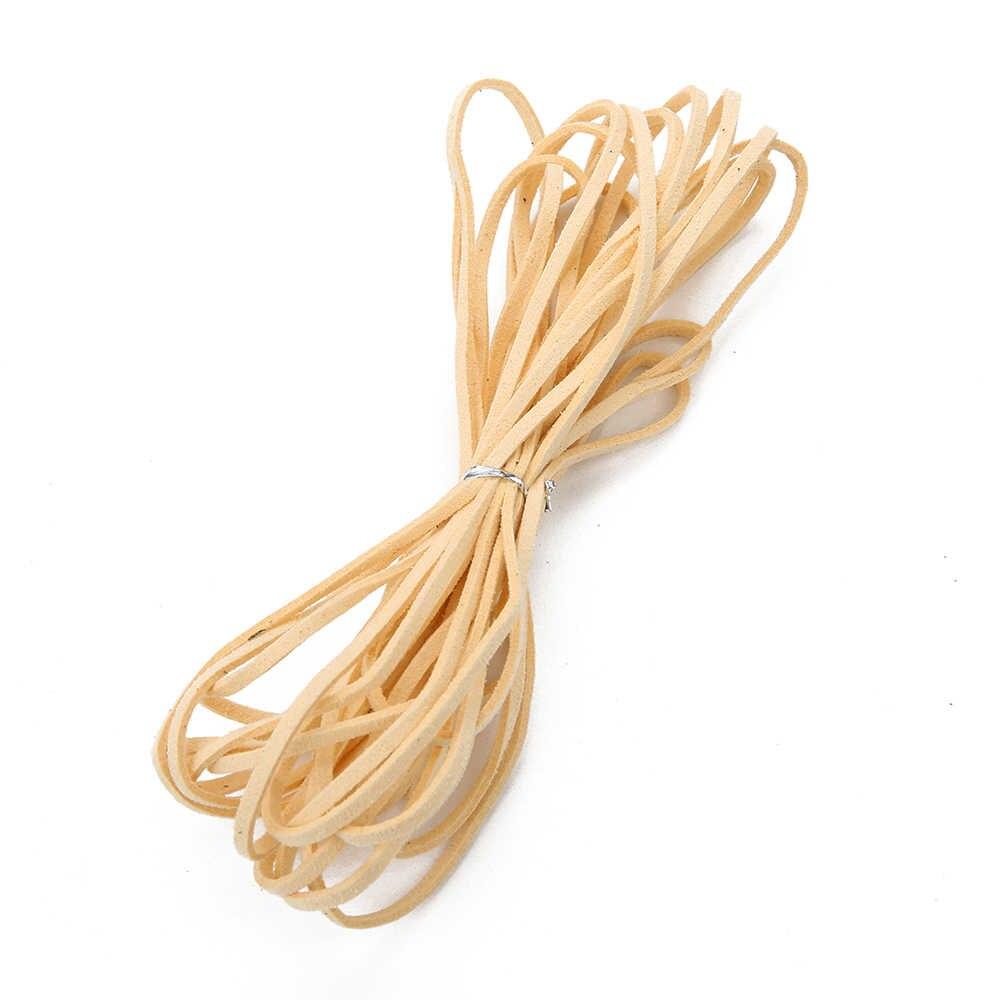 5 metr 3mm szerokość płaski sztuczny zamsz skórzany sznur Multicolors koreański aksamitna skóra sznurek linowy dla DIY skórzany sznur biżuteria Mkaing