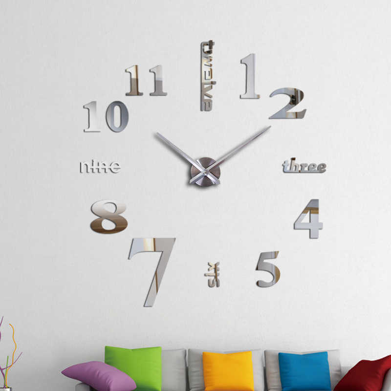 New arrival Quartz clocks fashion watches 3d real big wall clock rushed mirror sticker diy for living room decor clocks