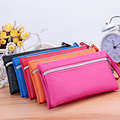 New 2016 Small Women Clutch COIN Purse Knitting PU Leather Women Bags with Phone Card Holder Zipper Pocket Girl Clutch Handbags