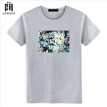 Mens Fashion T-shirt  Casual Personality Street Hip Hop Harajuku Brooklyn State Of Mind Printing Tshirt