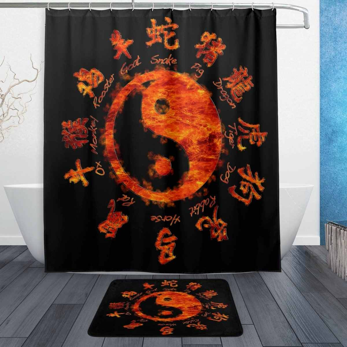 Asian Chinese Zodiac Signs60 X 72 Inches Shower Curtain And Mat Set Ying Yang Waterproof Fabric Bathroom Curtain