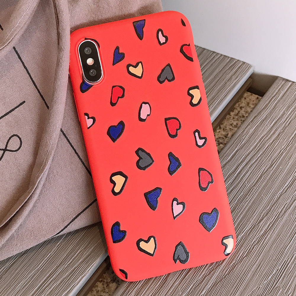 KIPX1116R_1_JONSNOW Phone Case for iPhone X XS XR XS Max 6 6S 7 8 Plus Painted Heart Leopard Style Frosted Soft Silicone Cover Cases Capa Fundas