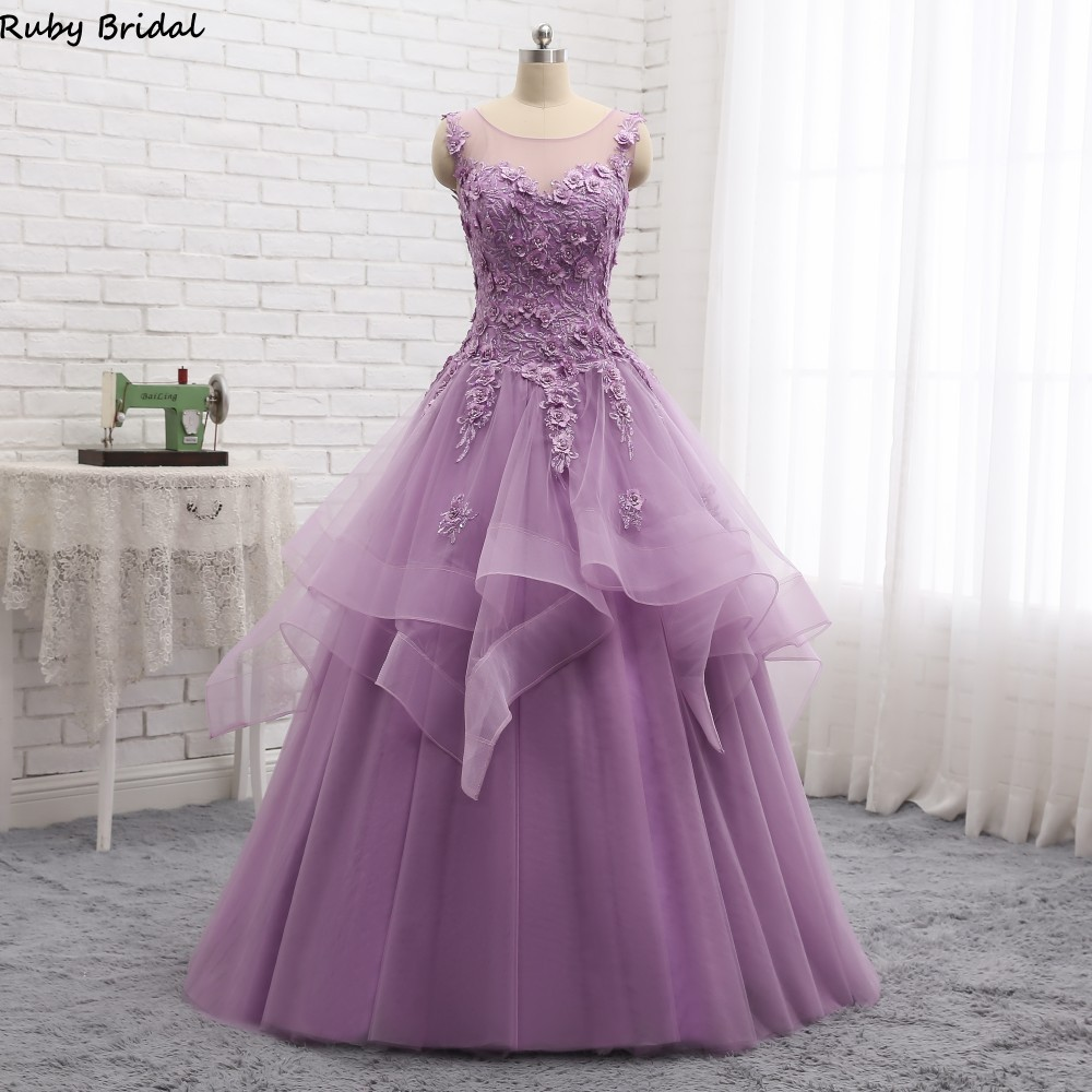 Ruby Bridal 2019 Vintage Prom Dresses Ball Gowns Purple Blue Tulle Appliques Beaded Cap Sleeves Lady Gown Sweet 16 Dresses P1903