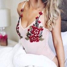 Сексуальная Комбинезон 2017 Женщины Холтер Комбинезон Розовый Цветочный Вышивка Боди Женская One Piece Bodycon Комбинезон