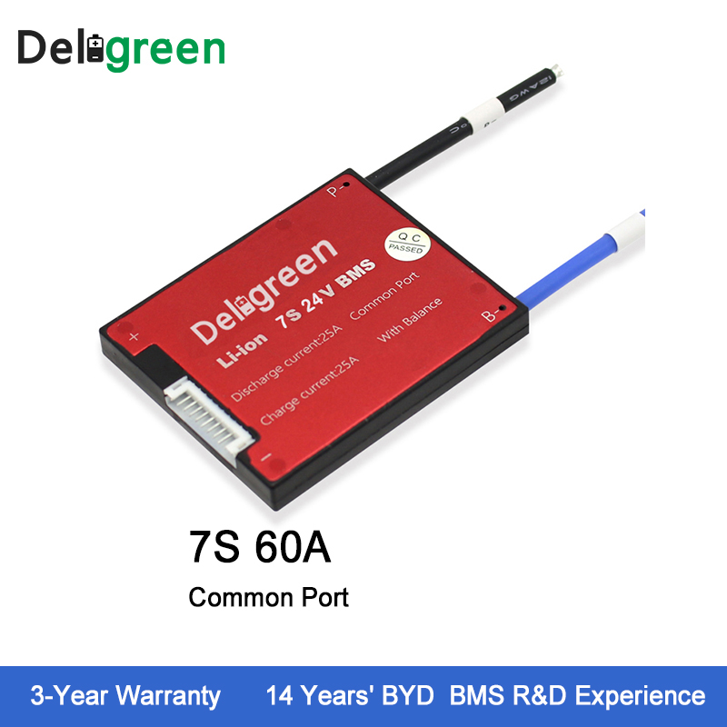 Deligreen 7S 60A 24V PCM PCB BMS for lithium battery pack 18650 Li Po LiNCM Battery