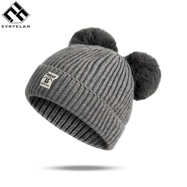 7951347effa Evrfelan Baby Boys Winter Hat Baby Hat Pom Pom Knitted Toddler Kids Warm  Double Pom Pom