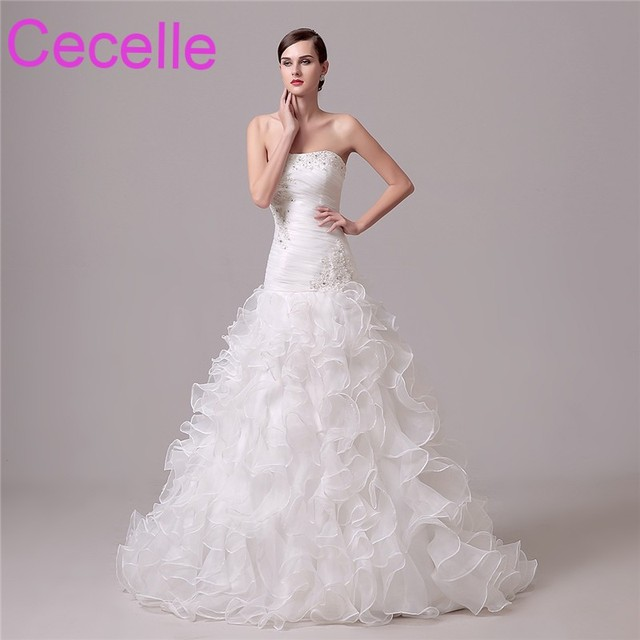 1a7c9aac4c Mermaid Long Wedding Dresses 2019 Strapless Corset Back Pleats Ruffles  Classic Bridal Gowns Custom Made Country Western Style