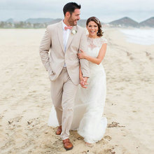 Summer Beige Linen Beach Wedding Suits Groom Tuxedos Best Man Blazers Costume Homme Terno Masculino 2 Piece Coat Pants