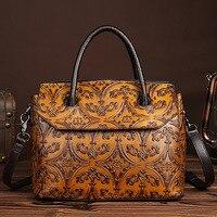 New Trend Women Handbag Genuine Leather Tote Bag Female Classic Embossed Office Shoulder Cross Body Messenger