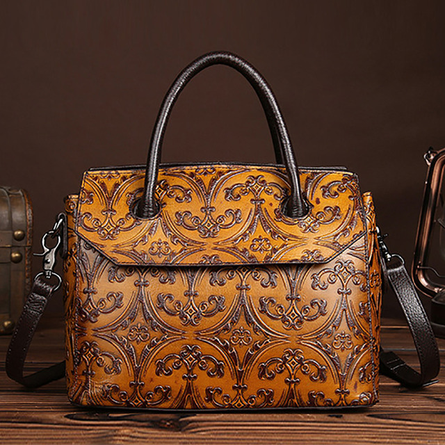 High Quality Handbag Cross Body Messenger Women Top Handle Bags Vintage Classic Embossed Genuine Leather Tote Shoulder Bag