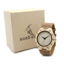 BOBO BIRD E01 Women's Top Design Brand Luxury Wooden Bamboo Dress Watches With Real Leather Quartz Ladies Watch in Gift Box