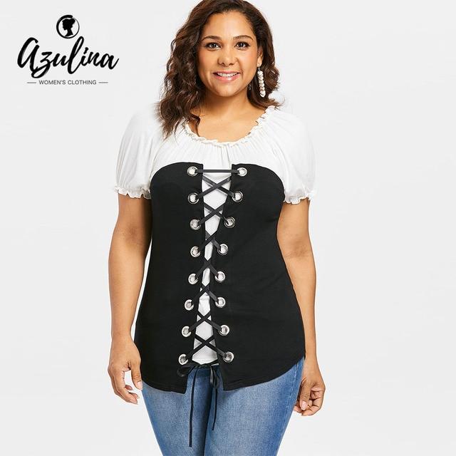 7f026ba00e1 AZULINA Plus Size Two Tone Lace Up T-Shirt Women T Shirt Vintage O Neck  Short Sleeve Ruffles T Shirt Ladies Tops Summer Clothing