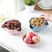 2 Layers Fruit Tray Wheat Straw Split Double Bowl Compote Candy Snack Nuts Box Holder Tray