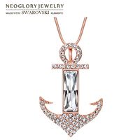 Neoglory Austria Crystal Czech Rhinestone Long Charm Necklace Alloy Plated Stylish Anchor Design New Trendy For