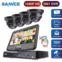 SANNCE Full HD 1080P CCTV camera system 4CH Video Surveillance DVR with 10.1' LCD and 4pcs outdoor Security Camera cctv kit