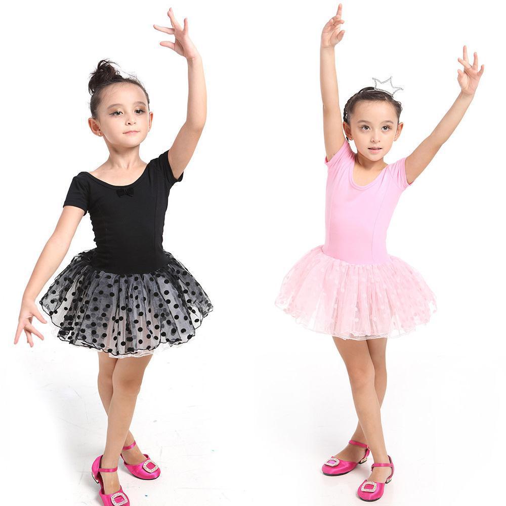 Girls Kids Dance wear Leotard Ballet Tutu Skate Costume Dance Dress 3-7 Dance wear Pink Black