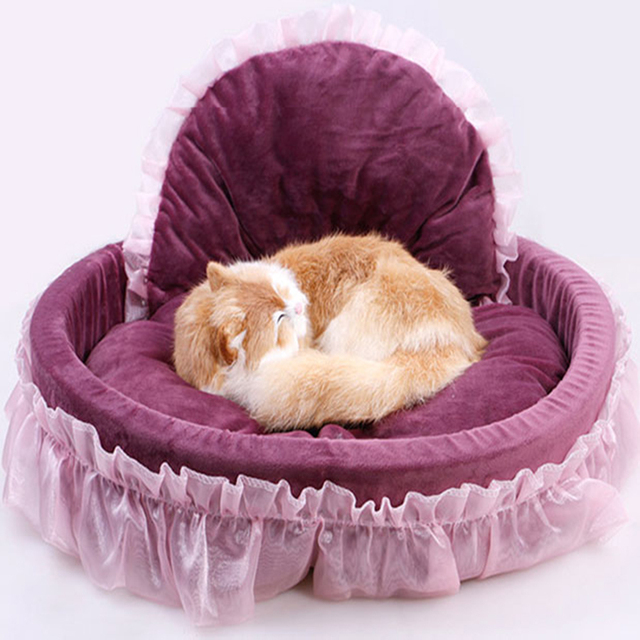 Pink Princess Lace Dog Bed Soft Sofa Luxury Washable Dog Kennel Cat Nest  Mascotas Puppy Cama
