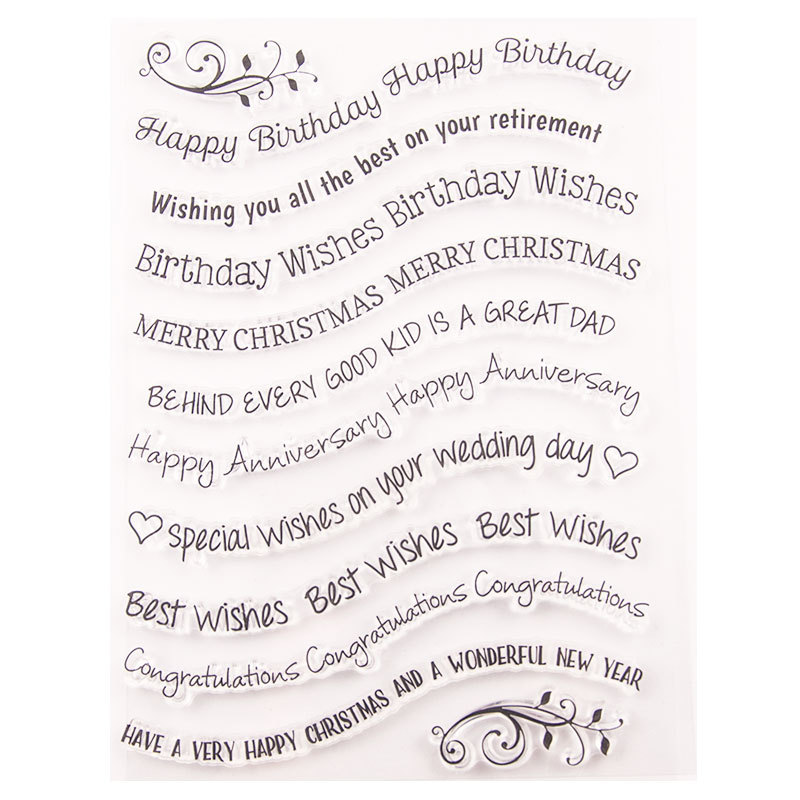 New Happy Birthday Wishes Words Transparent Clear Stamps Silicone Seal for DIY Scrapbooking Card Making Photo Album Decor Crafts in Stamps from Home Garden