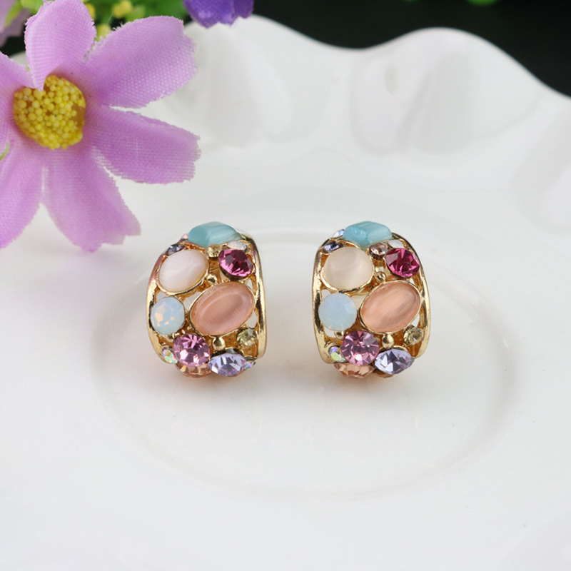 1 Pair Sale Cats Eye Crystal Hollow Out Earrings For Women Brincos Stud Earring Fashion Jewelry