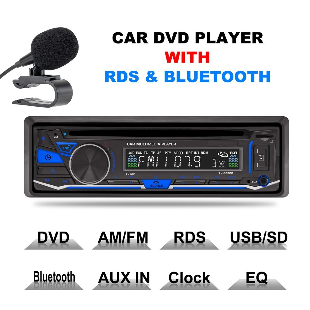 Liplasting 1 Din Electronic Anti-shock Single Din Bluetooth Car Audio Stereo FM DVD CD MP3 Player Receiver USB SD AUX Input 1563u 1 din 12v car radio audio stereo mp3 players cd player support usb sd mp3 player aux dvd vcd cd player with remote control