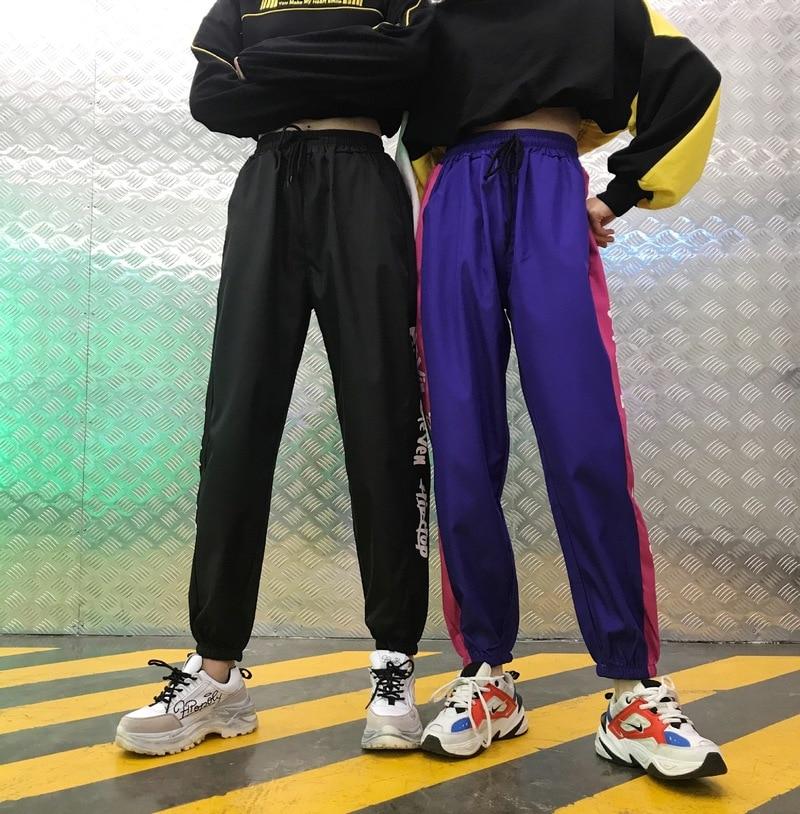 HOUZHOU Sweatpants Harem Pencil Pants Women Jogger Mujer Hip Hop Harajuku Streetwear Patchwork Letter Print Drawstring Harajuku