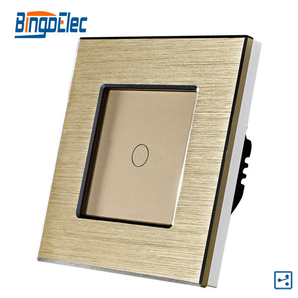 2017 EU/UK Standard 1gang 2way Touch Screen Switch Gold Aluminum Plate/Panel Wall Light Switch 110-240V AC,50-60hz,86*86*35mm 3 gang 1 way touch screen wall switch for lamp touch switch white uk standard