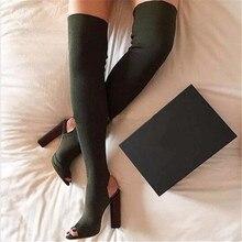 Mode Grün Über Das Knie Frauen Stretch Lange Stiefel Peep Toe Slingback High Heel Oberschenkel Hohe Stiefel Elastischen Socke Hohe Botas