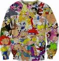 Moda feminina Crewneck Rugrats 90's Jumper Hey Arnold capuz 3D Cartoon Network coloração homens suor