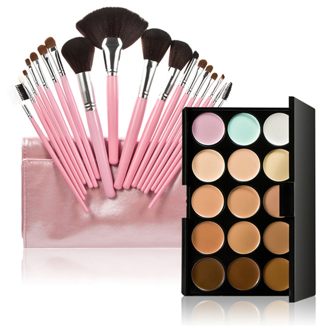 18PCS Makeup Brush +15 Color Face Concealer Palette Eyeshadow Foundation Brush Eyebrow Lip Brushes GUB#