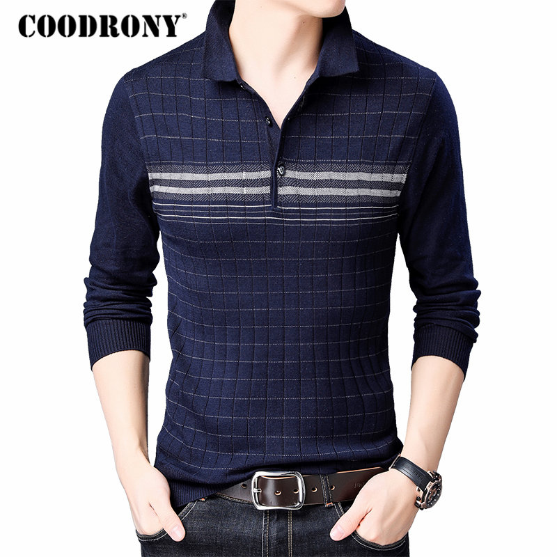 COODRONY Brand Sweater Men Knitwear Pull Homme Turn-down Collar Pullover Shirt Men Autumn Winter Warm Cotton Wool Sweaters 91040