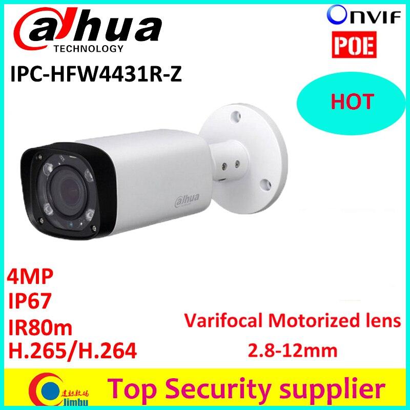Dahua IPC-HFW4431R-Z Poe varifocal motorized lens 2.8mm ~12mm camera H.265 network CCTV camera 4MP IR 80M ip camera HFW4431R-Z h 265 264 ipc lwirdnts400s 4mp ip camera 2 8 12mm varifocal manual zoom lens 4mp ir 30m with sd card slot poe network camera