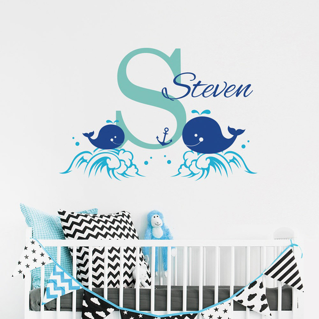 Ocean Style Custom Name Wall Stickers Babys Bedroom Whale Personalized Name Wall Decal Vinyl Kids Interior Nursery Decor W-342