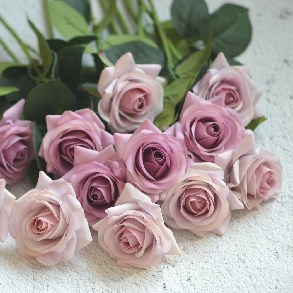 Mauve Real Touch Silk Roses Diy Silk Bridal Bouquets Wedding