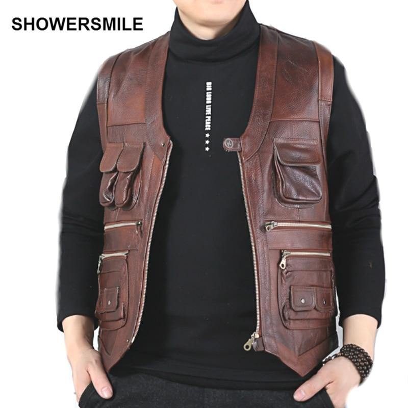 SHOWERSMILE márka valódi tehén bőr mellény férfi fotózás mellény sok zsebek barna motorkerékpár kabát férfi mellény