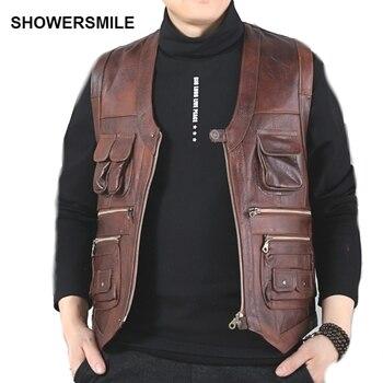 SHOWERSMILE genuino de la marca de cuero de vaca chaleco fotografía Chaleco  con muchos bolsillos marrón chaqueta de la motocicleta de hombre chaleco 393905bc510