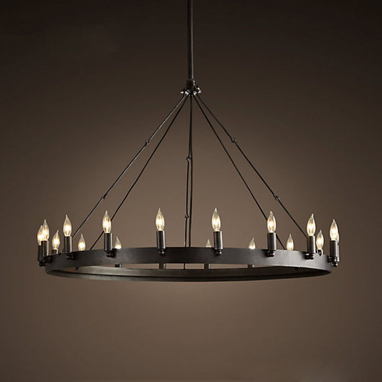 Industrial Wrought Iron Black Painted Candle Round Metal Pipe Erected Pendant Light With Edison Bulbs For Cafe Bar Living Room