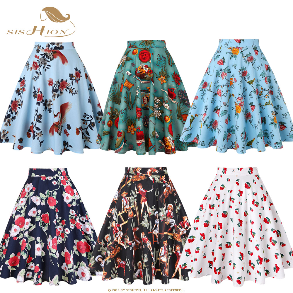 SISHION Design Floral Skirt Women High Waist Plus Size White Pink Green Blue Ladies Summer Skirts Skater 50s Vintage Plaid Skirt